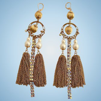 Vintage Tassel Rhinestone Pierced Earrings - Shoulder Duster