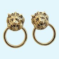 Vintage Lion Door Knocker Clip Earrings