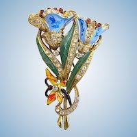 Vintage Enameled Flower Dress Clip