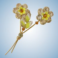 Vintage Stemmed Yellow Glass Double Flower Pin