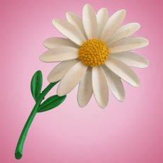Vintage Tall Daisy Enamel Flower Pin