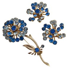 Vintage Blue Rhinestone Flower Pin and Clip Earring Set