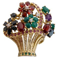 Vintage Basket of Life Rhinestone Flower Brooch