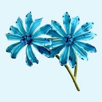 Vintage Turquoise Enamel Double Flower Brooch