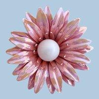 Vintage Daisy Mum Iridescent Pink Flower Brooch