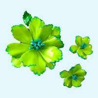 Vintage Lime Green Enamel Flower Bloom Brooch and Clip Earring Set