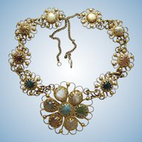 Vintage Brassy Boho Glass Stone Flower Pendant Necklace