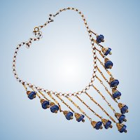Vintage 1940's Era Blue Bead Dangle Bib Necklace
