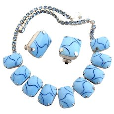 Vintage Marbled Opaque Blue Glass Necklace and Clip Earring Set
