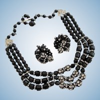 Vintage Black Glass Bead and Disco Ball Bead Necklace and Earring Set