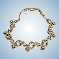 Vintage Metal Leaf and Clear Rhinestone Cluster Necklace