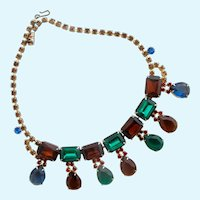 Vintage Gem Colored Large Rhinestone Necklace