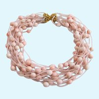 Vintage Faux Blush Coral Fifteen Strand Choker Necklace