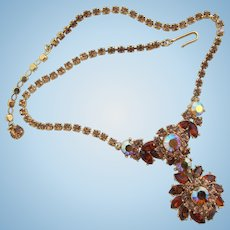 Vintage Trifari Topaz Rhinestone Cluster Necklace