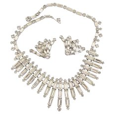 Vintage Special Occasion Clear Rhinestone Choker Necklace and Clip Earring Set
