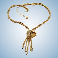 Vintage Gold Tone Mesh Chain and Rhinestone Dangle Necklace and Clip Earring Set
