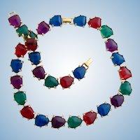 Vintage Lucite Gem Colored Necklace and Bracelet Set