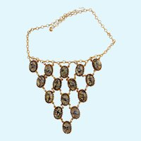 Vintage Cat's Eye Cabochon Bib Necklace