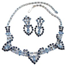 Vintage Light and Dark Blue Rhinestone Necklace and Clip Earring Set