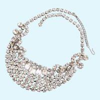 Vintage Icy Rhinestone Choker Necklace