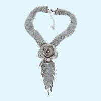 Vintage Metal Chain Mail Tassel Necklace