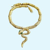 Vintage Gold Tone Snake Necklace