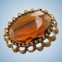 Vintage Huge Oval Topaz Glass Brooch