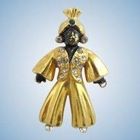 Vintage Blackamoor Turban Genie Man Brooch