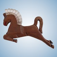 Vintage Rare Carved Dark Wood Jumping Horse with Lucite Mane 1940's Folk Art