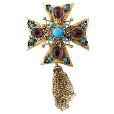 Vintage Purple Cabochon Maltese Cross Brooch with Chain Tassels