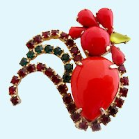 Vintage Red Rooster Cabochon Pin