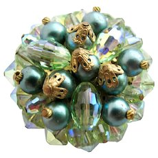 Vintage Green Crystal and Faux Pearl Pin / Pendant