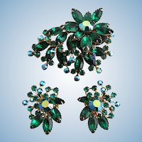 Vintage Large Green All Rhinestone Flower Pin and Clip Earring Set