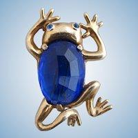 Vintage Unsigned Reja Style Crystal Frog Brooch