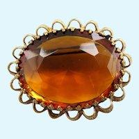 Vintage West German Amber Crystal Oval Brooch