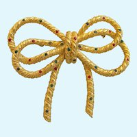 Vintage Gold Tone Bow Pin with Rhinestone Accents