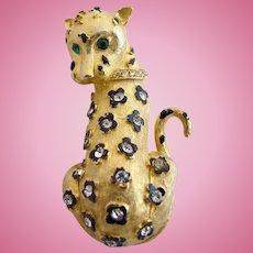 Vintage Rhinestone Studded Leopard Pin