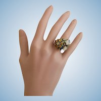 Vintage Ring with Rhinestone Flower Cluster and Glass Leaves - Adjustable Size