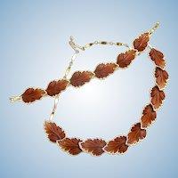 Vintage Brown Lucite Leaf Necklace and Bracelet Set