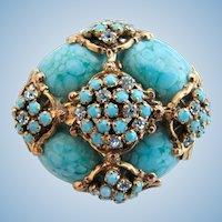 Vintage Faux Turquoise & Rhinestone Designer Quality Brooch