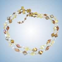 Vintage Vendome Two Strand Crystal Bead Choker Necklace