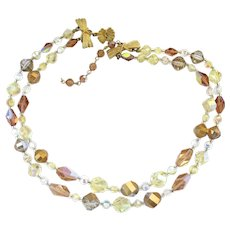 Vendome Two Strand Crystal Bead Choker Necklace