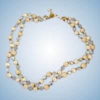 Vendome Two Strand Faux Pearl and Crystal Bead Necklace