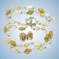 Vendome Gold Foil Art Glass Necklace, Bracelet and Earrings Set