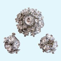 Vintage Vendome Margarita Crystal Domed Pin and Clip Earring Set