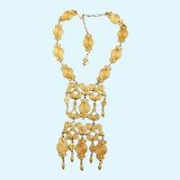 Vintage Vendome Massive Gold Tone Etruscan Statement Pendant Necklace