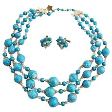 Vintage Vendome Turquoise Colored Bead Necklace and Clip Earring Set
