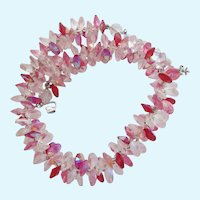 Vintage Vendome Rivoli Pink and Clear Crystal Choker Necklace