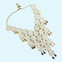 Vintage Lacy Gold Tone Vendome Bib Necklace