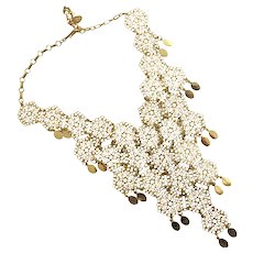 Vintage Lacy Gold Tone Vendome Bib Necklace